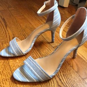Adorable blue and white striped heel sandal